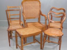 VINTAGE CANE SEATED CHAIRS - two pairs of occasional, a commode and a footstool