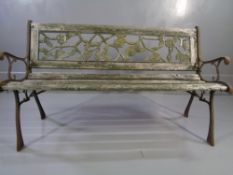 VINTAGE GARDEN BENCH with cast ends and wooden slats, 74cms H, 126cms W, 43cms D