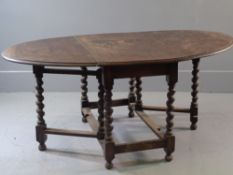 SUBSTANTIAL GATE LEG TABLE - period oak with barley twist supports, 74cms H, 167cms W (extended),