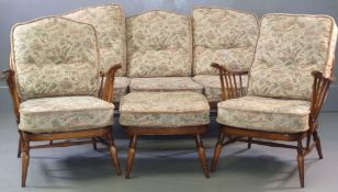 ERCOL MEDIUM THREE PIECE SUITE & FOOTSTOOL - spindlebacked, 1metre H (with cushions), 80cms D (the