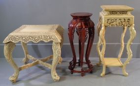 EASTERN PLANTER STANDS - one hardwood, 76cms H, the other composite and a similar composite square