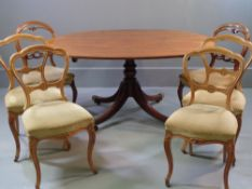 ANTIQUE DINING TABLE & SIX CHAIRS - tilt top mahogany table with oval centre pedestal, 71cms H,