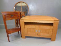 PARCEL OF MODERN FURNITURE - single drawer hall table, 80cms H, 48cms W, 34cms D, light oak effect