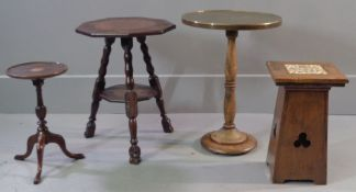 OCCASIONAL TABLES - interesting nine sided two tier lamp table carved and with hoof style feet,