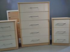 MODERN BEDROOM FURNITURE - Alstons chest of five long drawers, 113cms H, 77cms W, 43cms D and a pair