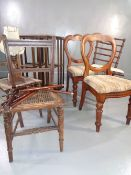 PARCEL OF FURNITURE - rotating bookcase, balloon back and cane seated chairs ETC