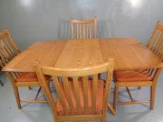 ERCOL DINING TABLE & FOUR CHAIRS - light wood, extender with flip-out central leaf, 75cms H,