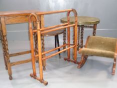PARCEL OF FURNITURE - Benares brass folding table, barley twist occasional table, another brass