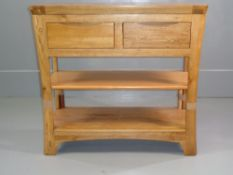 MODERN CONSOLE/HALL TABLE - light oak with two drawers and lower shelf, 79cms H, 85cms W, 35cms D