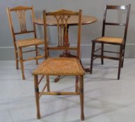 OAK TILT TOP TABLE - circular on tripod support, 30cms diameter and three cane seated chairs