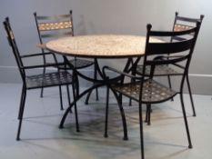 GARDEN FURNITURE - circular table with metal and mosaic design top, 110cms diameter and a set of