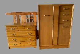 VINTAGE G-PLAN COMBINATION WARDROBE, 122cms H, 88cms W, 45cms D, a modern pine bedroom chest of four