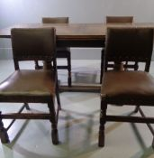 DINING TABLE & FOUR CHAIRS, vintage draw leaf and a set of four studded and rexine covered, 76cms H,