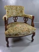 ANTIQUE TUB CHAIR, upholstered in traditional style