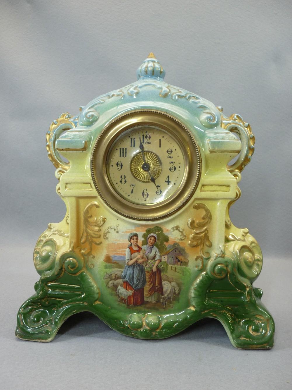 TURNED WALNUT DRUM CASED QUARTZ MANTEL CLOCK and a Victorian cheapware pottery mantel clock, 29 - Image 2 of 3