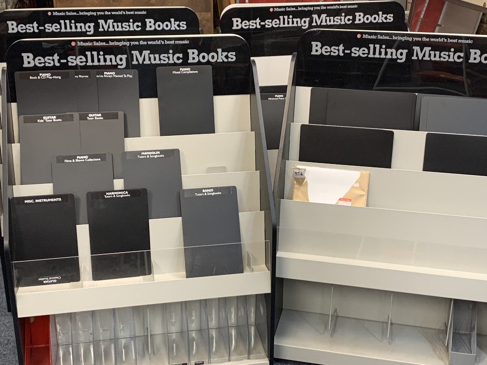 MUSIC SHOP DISPLAY STANDS FOR BEST SELLING MUSIC BOOKS (4) - on castors, 137.5cms H, 101cms W, 51cms - Image 2 of 2