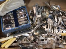 CASED & LOOSE EPNS CUTLERY - a quantity