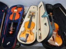 PRE-LOVED MODERN VIOLINS WITH BOWS - in fitted cases (3) to include a Stentor Student 2 3/4 size,