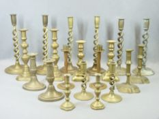 VICTORIAN & LATER BRASS CANDLESTICKS, 10 PAIRS along with a brass open box base mirror with Art