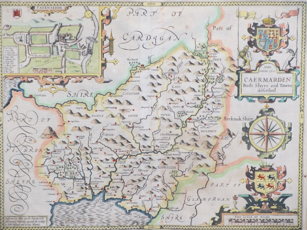 JOHN SPEEDE map - 'Caermarden, Both Shyre & Towne' described, AD 1610, hand coloured with visible - Image 2 of 2