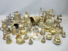 VINTAGE & LATER BRASS BELLS, A COLLECTION - crinoline and Welsh Lady types, swing doorbells and