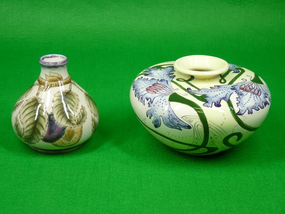 COBRIDGE & BLACK RYDEN VASES (2) - to include a 9cms H squat vase (plum) on a mushroom ground