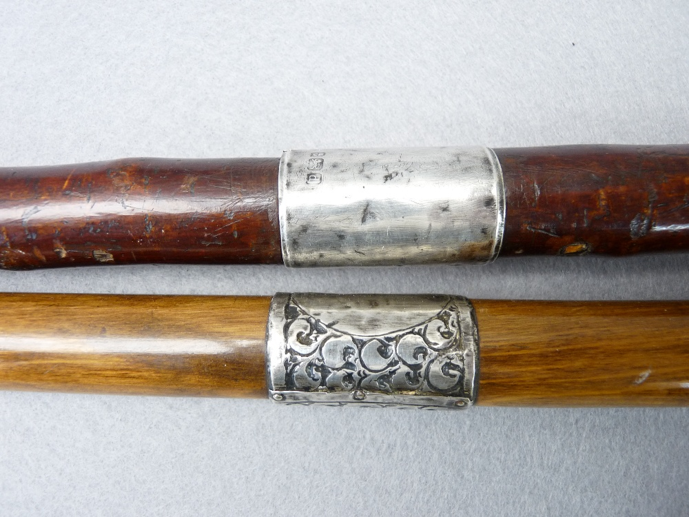 ANTIQUE & LATER WALKING STICKS & CANES (4) including a Malacca example with possibly walrus ivory - Image 3 of 3