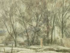 JOSEPH EDWARD SLATER watercolour - an urban park, signed and inscribed verso, 21 x 25.5cms, with a