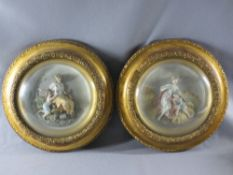 PAINTED PARIAN CIRCULAR RELIEF PLAQUES (2) - Late 19th/Early 20th Century depicting fruit and crop