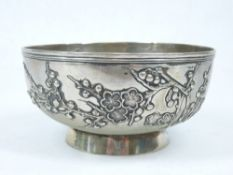LUEN WO SHANGHAI CHINESE EXPORT SILVER BOWL CIRCA 1900 applied with Prunus Blossom beneath a