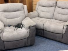 TWO TONE SUEDE SOFA WITH MATCHING CHAIR, BOTH ELECTRIC RECLINER - 100cms H, 165cms W, 102cms D the