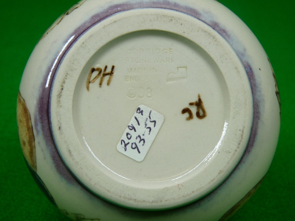 COBRIDGE & BLACK RYDEN VASES (2) - to include a 9cms H squat vase (plum) on a mushroom ground - Image 3 of 6