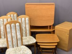 FURNITURE PARCEL - four fabric back chairs, drop-leaf table, an entertainment unit, two drawer