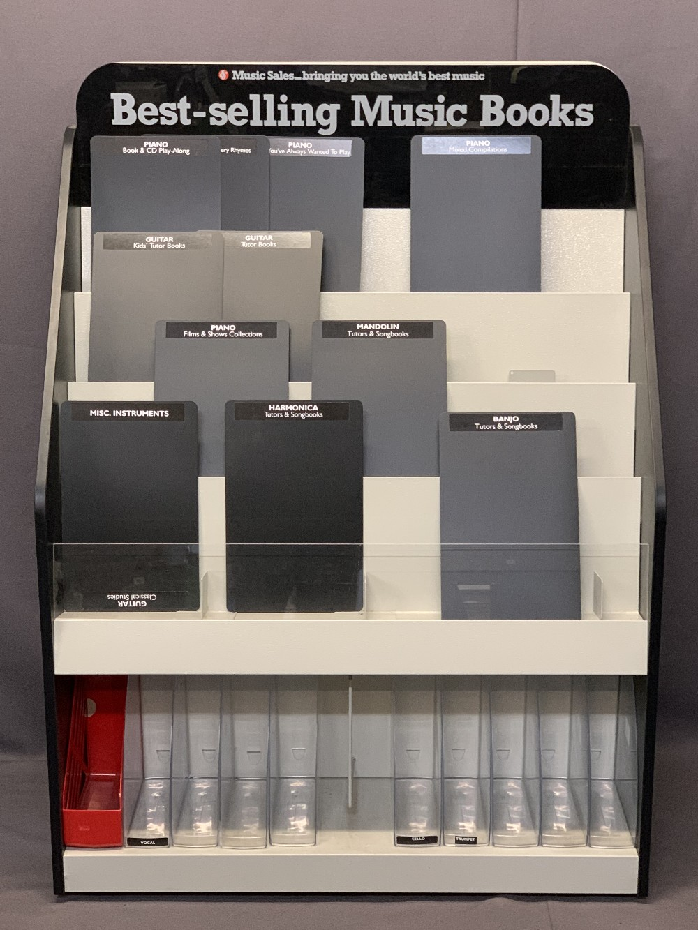 MUSIC SHOP DISPLAY STANDS FOR BEST SELLING MUSIC BOOKS (4) - on castors, 137.5cms H, 101cms W, 51cms