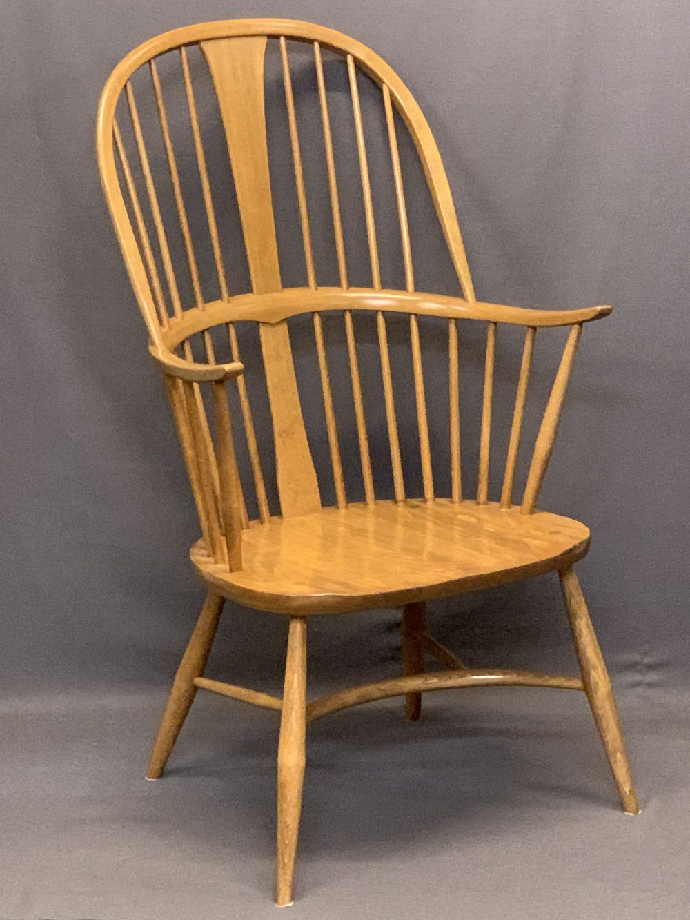 LIGHT ERCOL WINDSOR STYLE ARMCHAIR - with hoop back, crinoline type stretcher and removable - Image 2 of 5