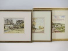 DEREK BUCKINGHAM watercolours, a pair - entitled 'Willows in Wales' and 'Trees at Sherl', 14.5 x