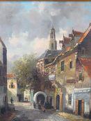 20TH CENTURY DUTCH SCHOOL oil on canvas by Hten Hoeven - vintage street scene, in a modern gilt