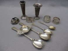 SMALL SILVER, 10 HALLMARKED ITEMS - a tea strainer, pair of salad servers, two napkin rings, one