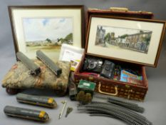 MIXED COLLECTABLES GROUP - Hornby part train set, vintage cameras, 45rpm records and children's
