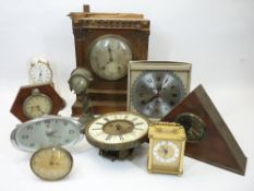 VINTAGE & LATER CLOCKS COLLECTION - to include a W & R marked movement within an oak case remnant,