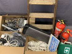WOODEN STEPLADDER, CHROME PEG BOARD HOOKS & HANGERS, fire extinguishers, extension leads and other
