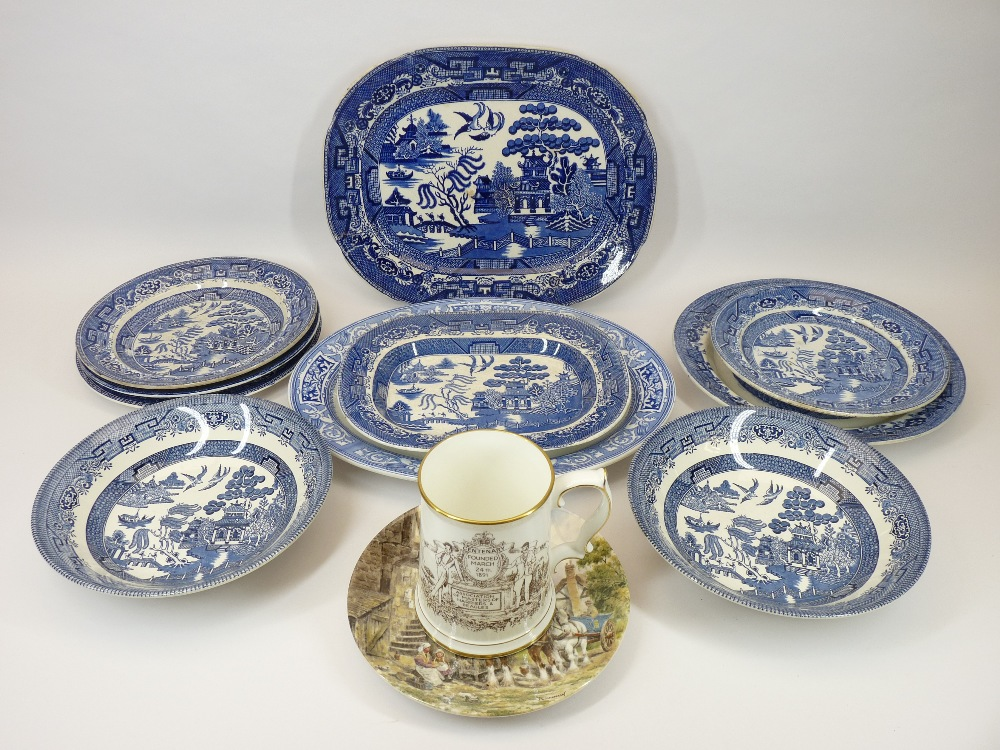 COMMEMORATIVE TANKARD, WILLOW PATTERN & OTHER BLUE & WHITE TABLEWARE and a Wedgwood decorative