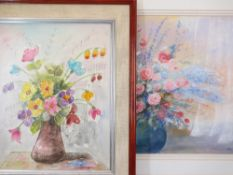 G BENELLI oil on canvas - Flowers in a vase, 49 x 39cms with a similar by JAN BATES mixed media -