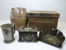 MIXED COLLECTABLES GROUP - a mother of pearl inlaid papier mache tea caddy and a crumb tray, tin