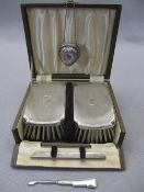 CASED GENTLEMAN'S BRUSH & COMB HOLDER SET, small heart shaped lidded pill box and a hallmarked