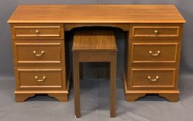 STAG 6 DRAWER DESK DRESSING CHEST, 69cms H, 130cms W, 43cms D and a piano stool, 56cms H, 66cms W,