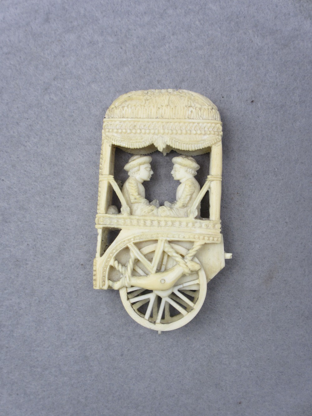 LATE 19TH/EARLY 20TH CENTURY ANGLO INDIAN IVORY/BONE CARVINGS - an elephant with palanquin on a - Image 3 of 5