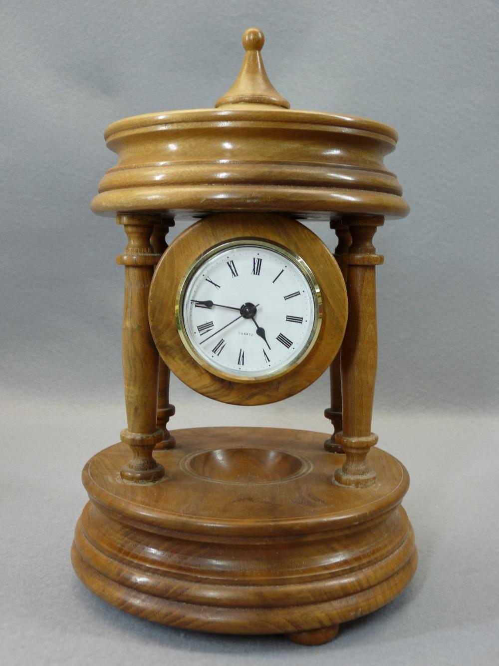 TURNED WALNUT DRUM CASED QUARTZ MANTEL CLOCK and a Victorian cheapware pottery mantel clock, 29 - Image 3 of 3