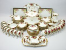 ROYAL ALBERT OLD COUNTRY ROSES TEA & DINNERWARE, 90 PLUS PIECES and three boxed sets of coasters