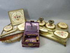 EMBROIDERED & BRASS FILIGREE PART DRESSING TABLE SETS (2), mini Edwardian travel case containing
